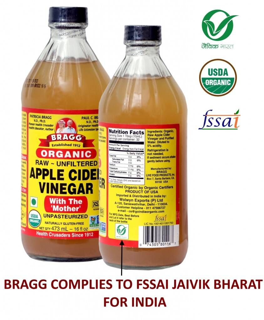 BRAGG ORGANIC APPLE CIDER VINEGAR COMPLIES TO FSSAI JAIVAIK BHART FOR INDIA