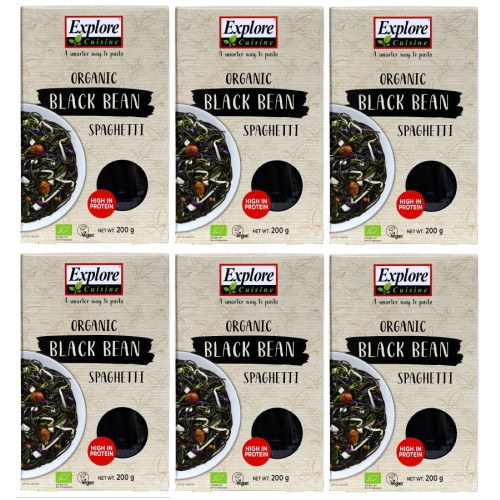 Pack of 6, Organic Black Bean Spaghetti - (6 x 200g) - Gluten Free, High Protein Pasta, Easy to Make - USDA Certified Organic, Vegan, Kosher,Non GMO