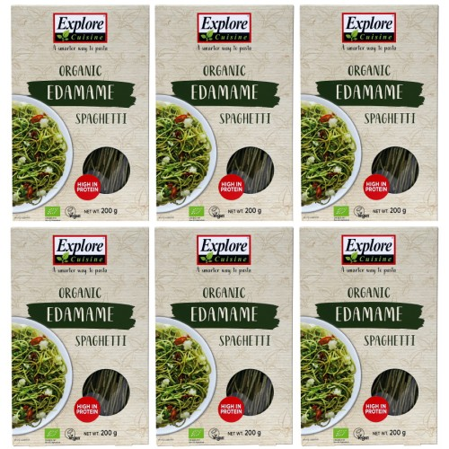 Pack of 6, Organic Edamame Spaghetti - 200 g - Gluten Free, High Protein Pasta, Easy to Make - USDA Certified Organic, Vegan, Kosher, Non GMO