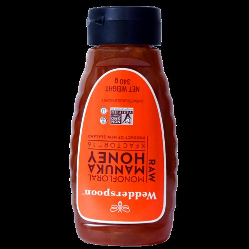 Wedderspoon Raw Manuka Honey K16+ 340g, Squeeze Bottle