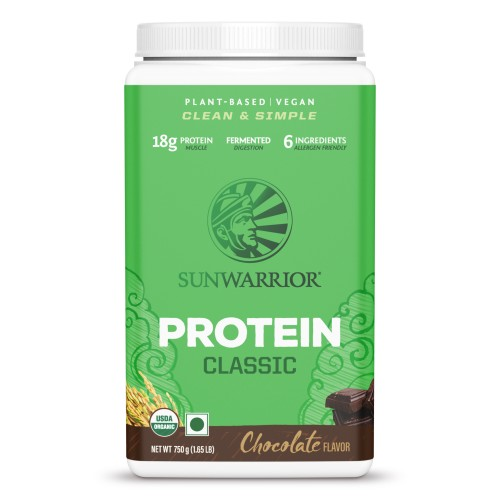 Sunwarrior Organic Brown Rice Protein Powder, Chocolate Soy Free, Gluten Free, Diary Free, Raw , Vegan Classic 750 g