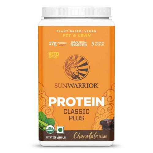 Sunwarrior Classic Plus, Organic Raw Plant Based Protein Powder, Chocolate Flavor 750 g