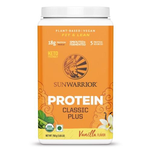 Sunwarrior Classic Plus, Organic Raw Plant Based Protein Powder, Vanilla Flavor 750 g