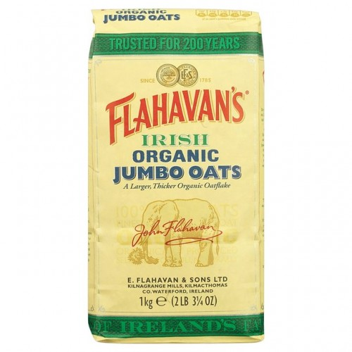 Flahavans Irish Organic Jumbo Oats 1kg- Rolled Oats