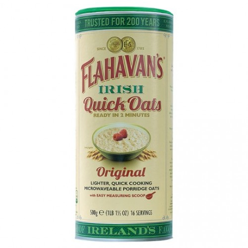 Flahavans Irish Quick Porridge Oats - Microwaveable 500G, 100% Wholegrain Rolled Oats