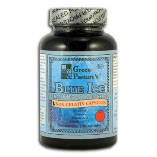 Blue Ice Fermented Cod Liver Oil - Non Gelatin Capsules - Orange Flavor