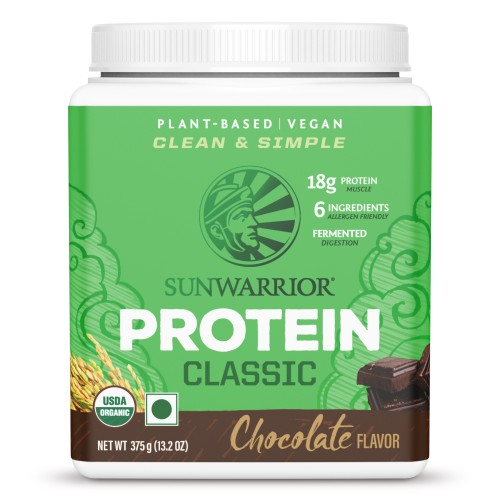 Sunwarrior Organic Protein Chocolate 375 g, Plant Based Protein, Classic
