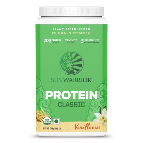 Sunwarrior Classic Brown Rice Raw Vegan, Plant-based Protein Powder – Vanilla 750 gm, Soy Free, Gluten Free, Dairy Free