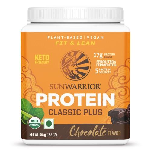 Sunwarrior Classic Plus, Organic Raw Plant Based Protein Powder, Chocolate Flavor 375 g