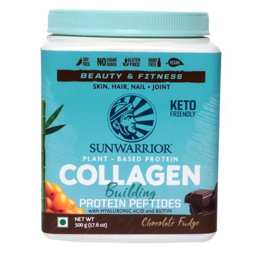 Sunwarrior Plant-Based Collagen Building Protein Peptides - Chocolate, Vegan, Gluten Free