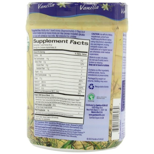Garden Of Life Raw Organic Protein Vanilla Plant Based Protein Powder